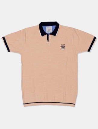 Stride cream solid casual wear t-shirt