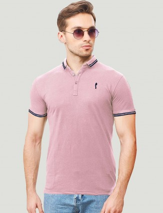 Stride pink color polo neck solid t-shirt