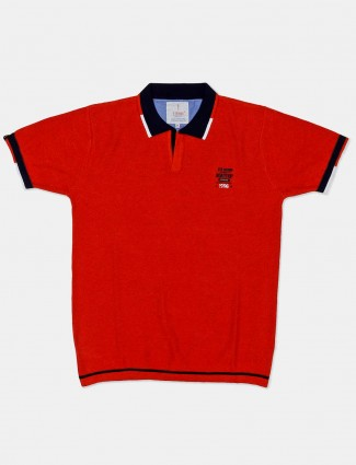 Stride red solid cotton casual t-shirt