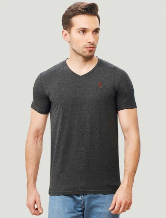 Stride slim fit cotton dark grey t-shirt