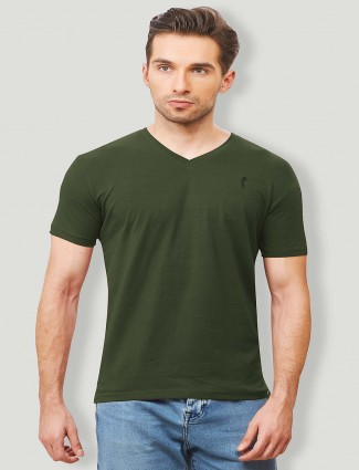 Stride solid cotton bottle green t-shirt