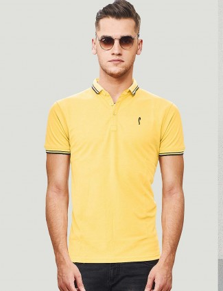 Stride solid lemon yellow cotton t-shirt