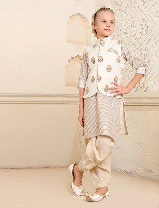 Stripe beige cotton kurta suit with jacket