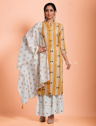 Stripe beige cotton sharara set in casual