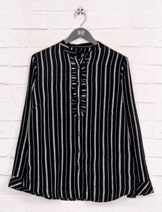Stripe black cotton shirt in casual