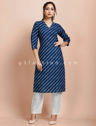 Stripe blue cotton casual v neck pant suit
