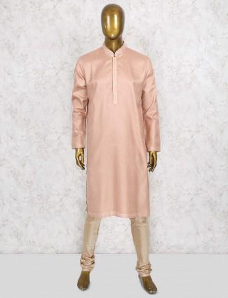 Stripe bright peach cotton silk kurta suit
