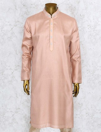 Stripe bright peach cotton silk kurta suit
