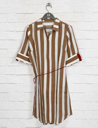 Stripe brown cotton long top
