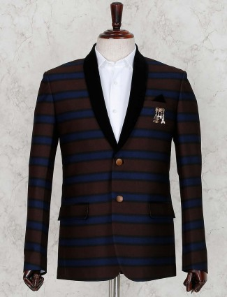 Stripe brown hue party wear blazer