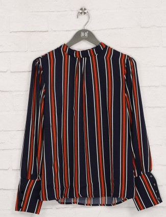 Stripe navy casual wear cotton top