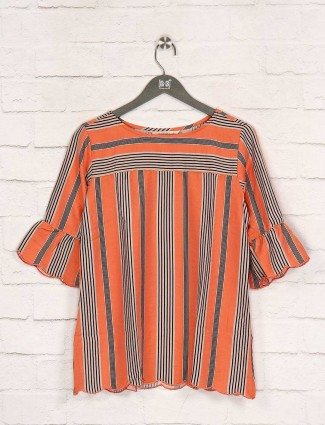 Stripe orange quarter sleeves top