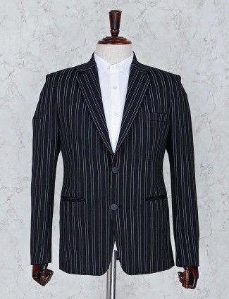 Stripe pattern black terry rayon fabric blazer