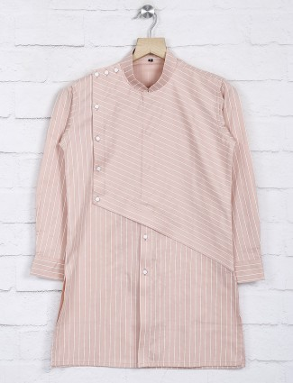 Stripe pattern peach hue cotton kurta suit