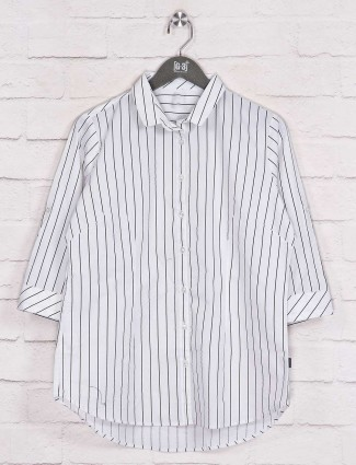 Stripe white collar neck long shirt