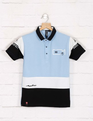 Sturd light blue polo neck printed t-shirt