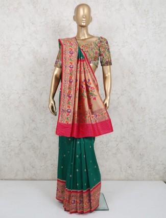 Stylish banarasi silk saree in green color