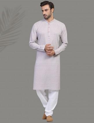 Stylish cotton viloet kurta suit with chikan thread