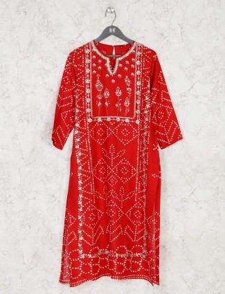 Stylish red printed cotton kurti for festival