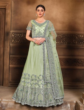 Stylish wedding wear semi stitched lehenga choli in sea green