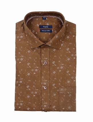 TAG brown color printed mens shirt