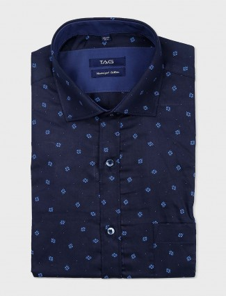 TAG navy hue printed formal shirt