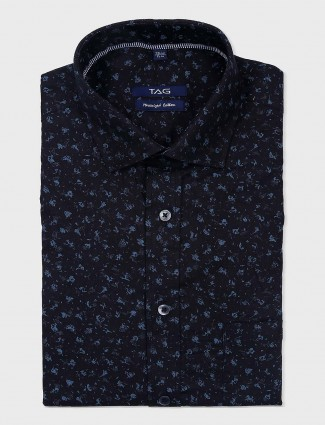 TAG presented black printed formal shirt