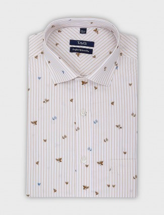 TAG printed and stripe pattern formal shirt