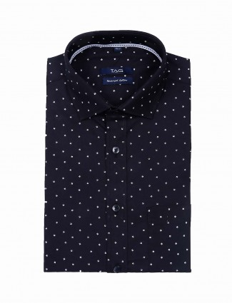 TAG printed cotton fabric black shirt