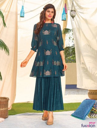 Teal green cotton printed kurti for casual look