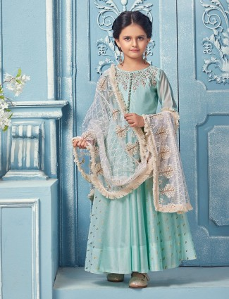 Teal green party wear cotton silk anarkali suit