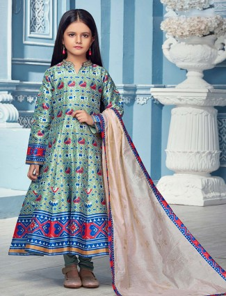 Teal green patola silk fabric anarkali suit