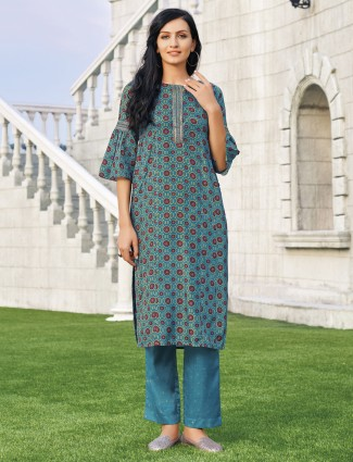 Teal green printed cotton silk kurti set