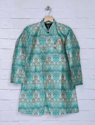 Teal green printed silk indo western