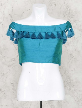Teal green raw silk ready made blouse