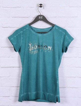 Teal green round neck cotton top