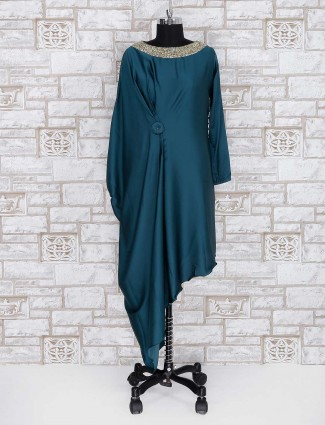 Teal green satin party wear kurti