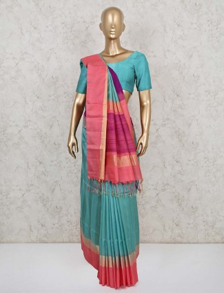 Teal green stylish saree for wedding in south pure silk