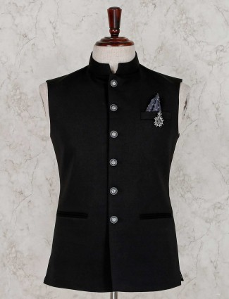 Terry rayon black solid waistcoat