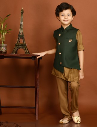 Terry rayon dark green waistcoat set