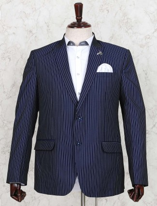 Terry rayon dark navy stripe blazer
