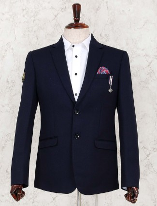 Terry rayon fabric navy party wear blazer