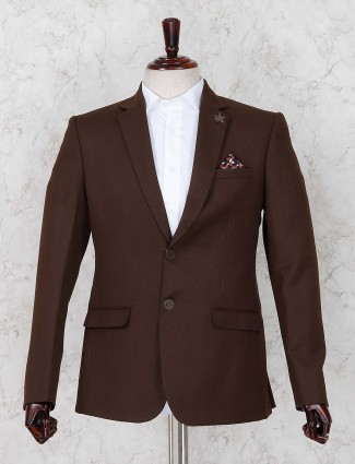 Terry rayon fabric party solid brown blazer