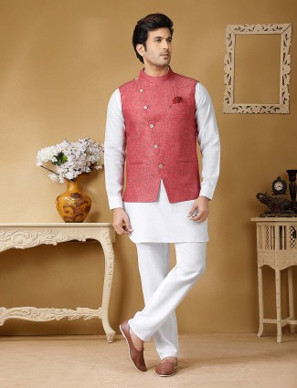 Terry rayon fabric pink and white color solid waistcoat set