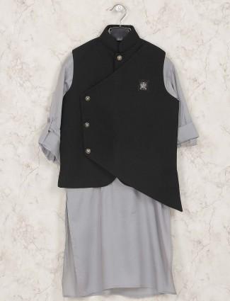 Terry rayon grey and black waistcoat set