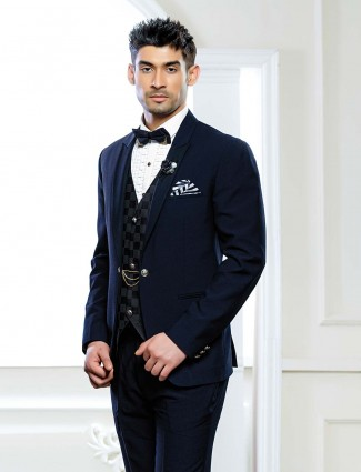 Terry rayon navy hued party wear tuxedo suit