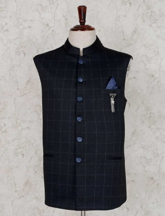 Terry rayon party navy checks waistcoat