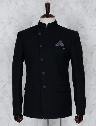 Terry rayon solid black jodhpuri blazer