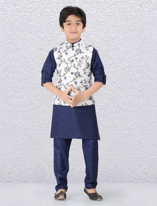 Terry rayon white and navy color waistcoat set