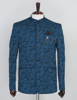 Textured blue terry rayon jodhouri suit